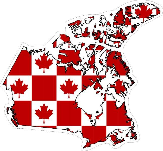 Map Flags Of Canadian Provinces Territories DecalsBumper - Canada map with flag